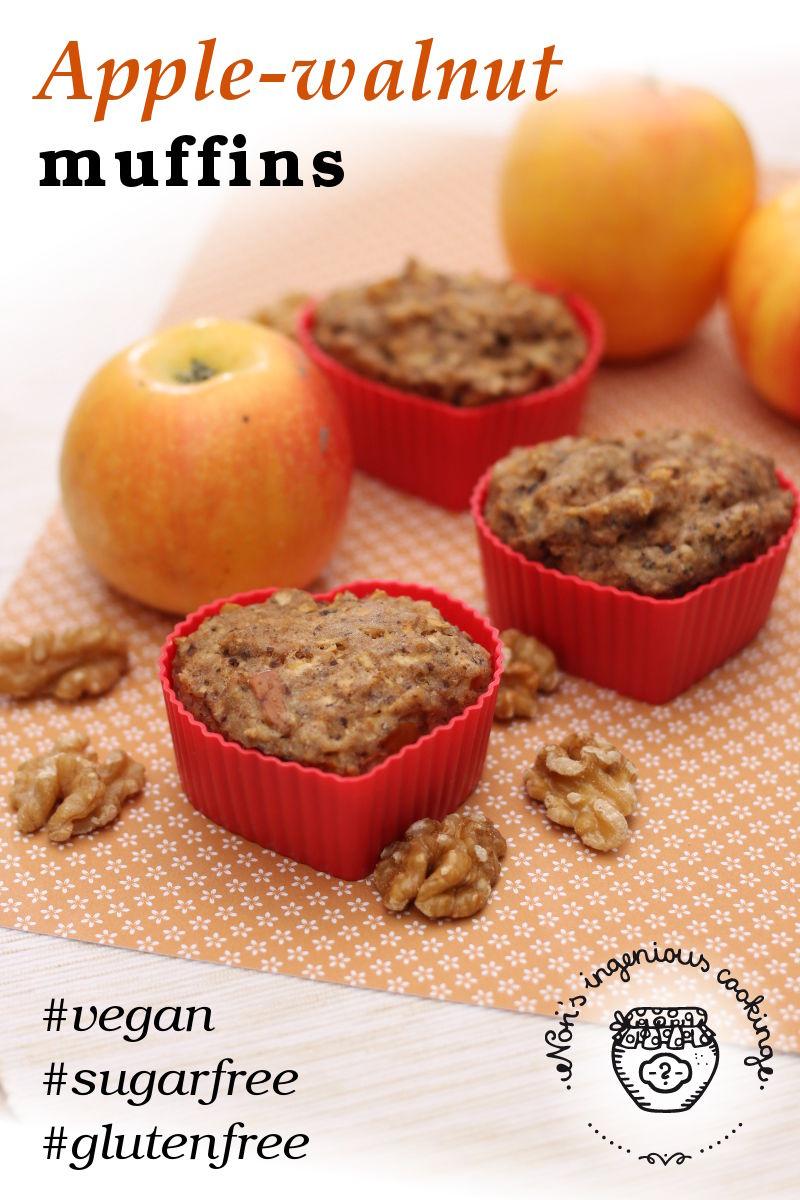 Apple-walnut muffins (allergy-friendly, vegan)