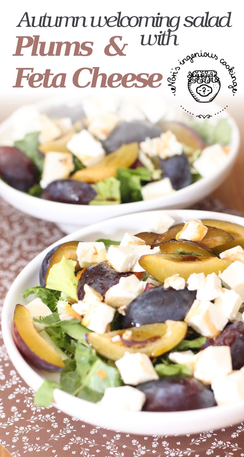 Autumn welcoming salad with plums - feta cheese