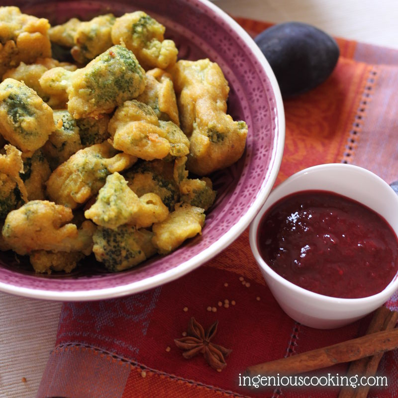 Broccoli pakora with plum chutney - or how to make very simple gluten- and egg-free breaded bites