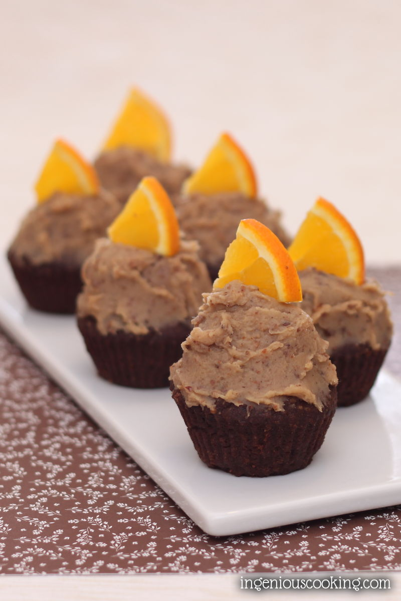 Chocolate cupcakes with chestnut - orange frosting
