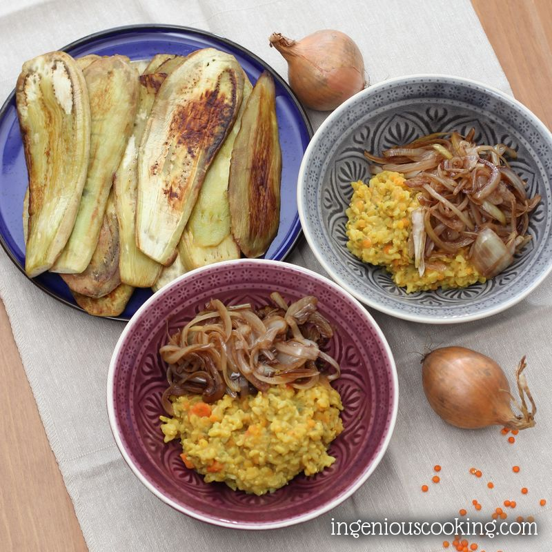 Colorful lentils with caramelized onions and grilled aubergines (vegan)