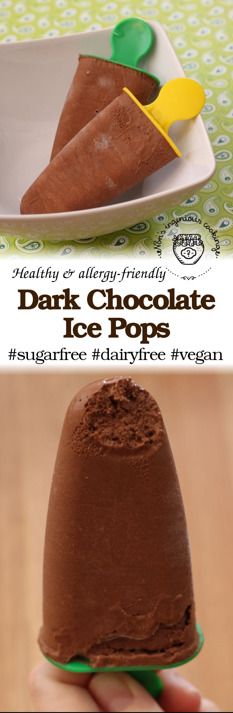 Diet-friendly dark chocolate ice pops