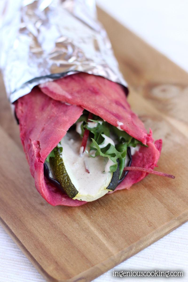 #Grainfree beet wraps w/ grilled veggies & tahini dressing - #vegan, #glutenfree, #lowcarb #recipe  ingeniouscooking.com