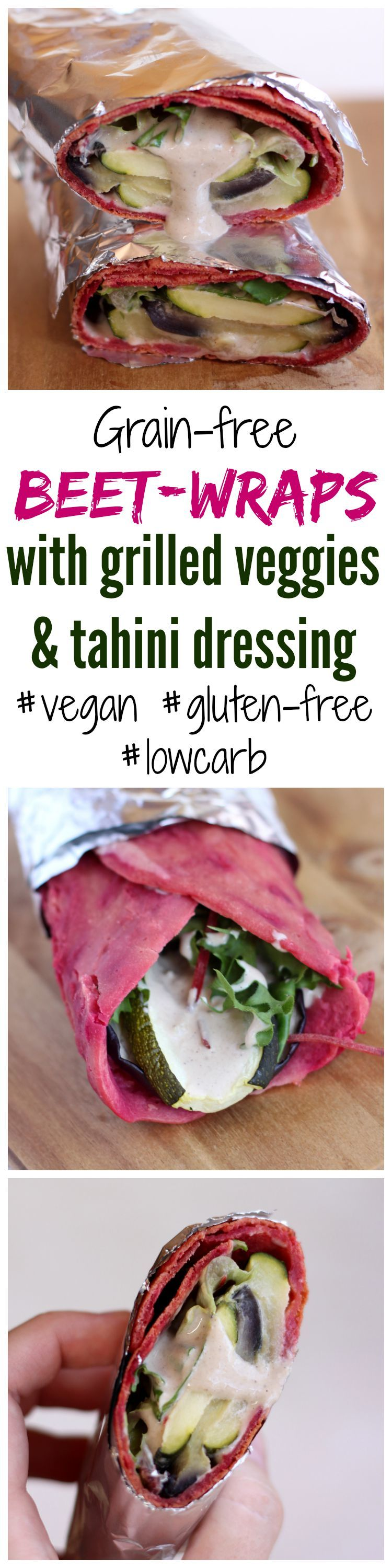 #Grainfree beet wraps w/ grilled veggies & tahini dressing - #vegan, #glutenfree, #lowcarb #recipe |ingeniouscooking.com