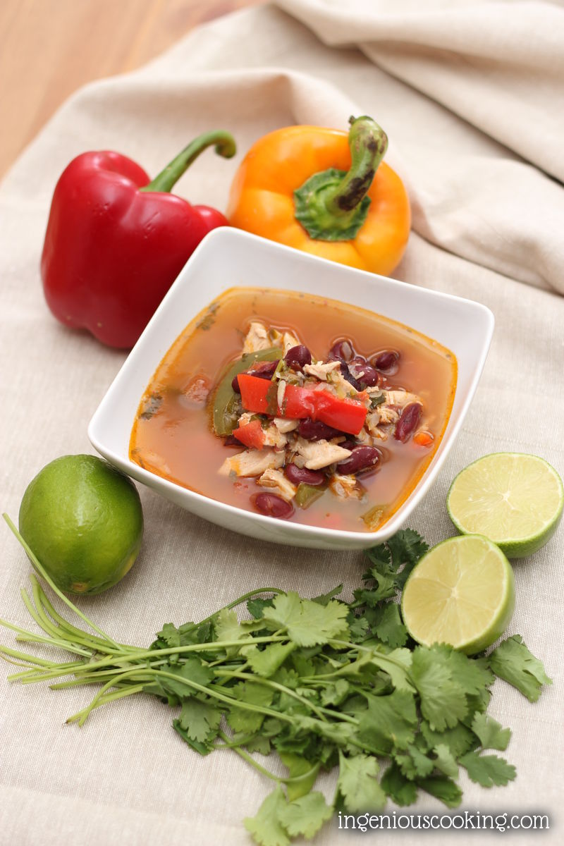 Mexican chicken fajita soup