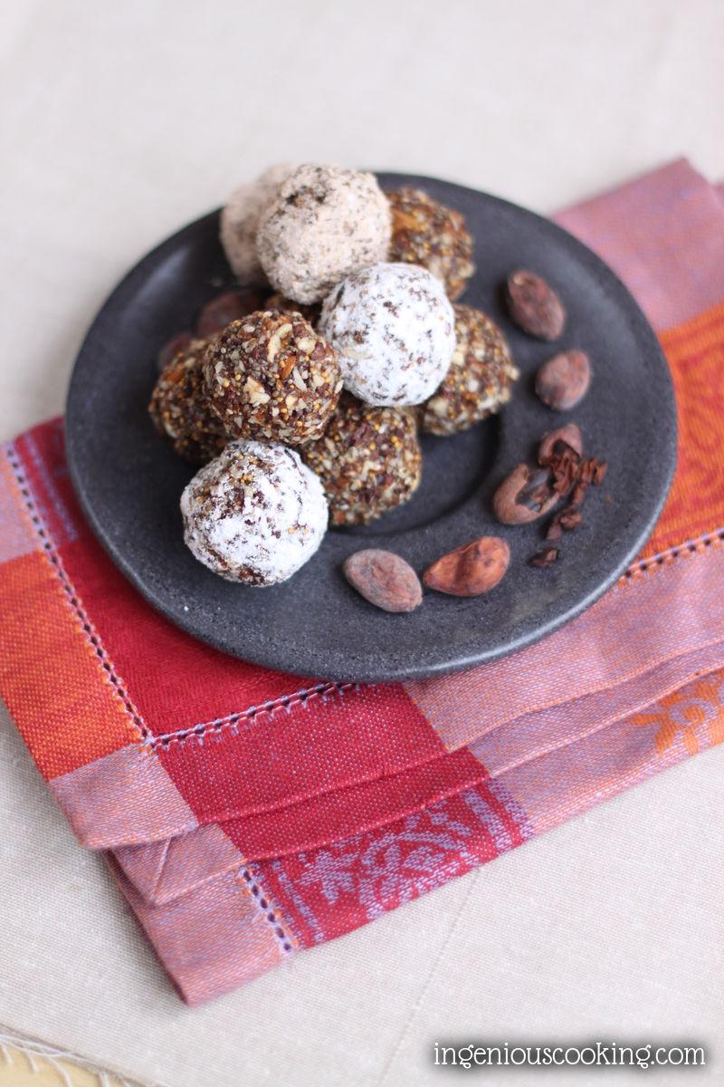 Raw cocoa - chia seed energy balls