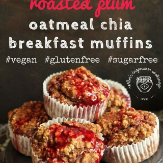 Spicy red wine roasted plum oatmeal chia breakfast muffins