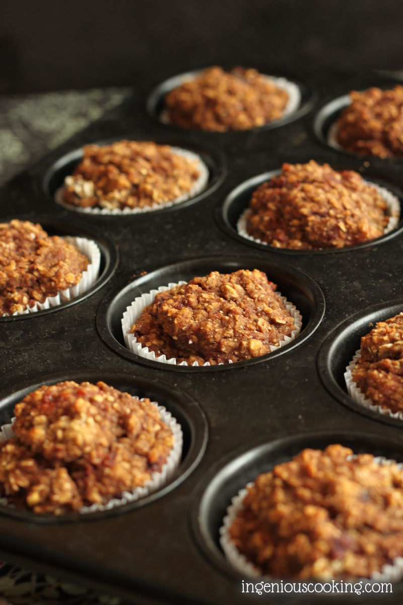 Spicy red wine roasted plum oatmeal chia breakfast muffins #vegan #glutenfree #diabetic #sugarfree |ingeniouscooking.com