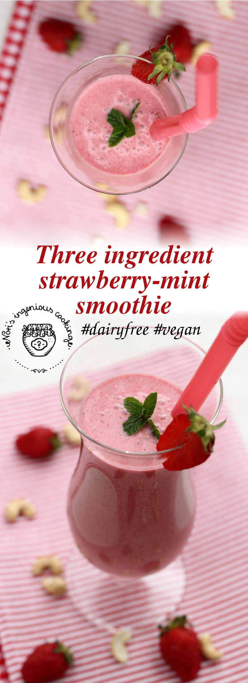 Strawberry-mint smoothie (vegan)