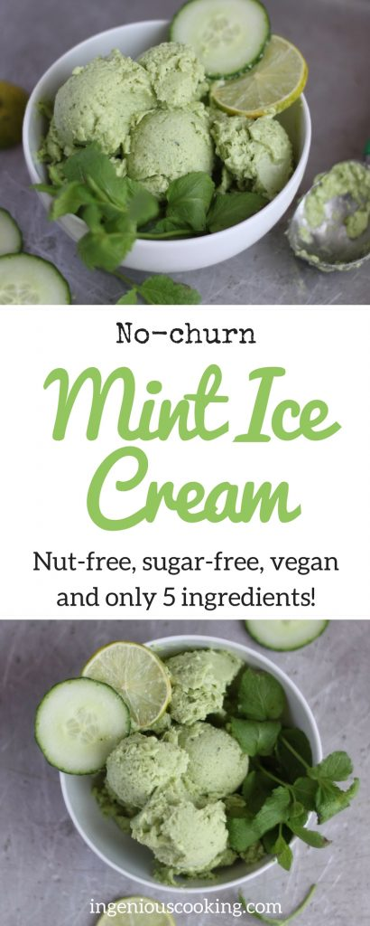 No churn vegan mint ice cream - 5 ingredients, #sugarfree, #nutfree @ingeniouscooking.com
